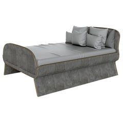 Dandy Bed in Black Shagreen and Bronze-Patina Brass by Kifu, Paris