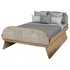 Dandy Bed in Cream Shagreen and Bronze-Patina Brass by Kifu, Paris