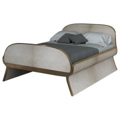Dandy Bed in Parchment and Bronze-Patina Brass by Kifu, Paris