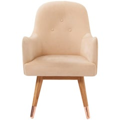 Dandy Chair Armchair in Soft Suede Beige Leather, White Oak and Copper