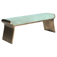 Dandy Day Bench in Celadon Shagreen and Bronze-Patina Brass by Kifu, Paris