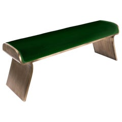 Dandy Day Bench Upholstered in Green Velvet with Brass by Kifu Paris
