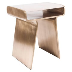 Dandy Side Table in Cream Shagreen and Bronze-Patina Brass by Kifu Paris