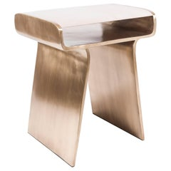 Dandy Side Table in Cream Shagreen and Bronze-Patina Brass by Kifu, Paris