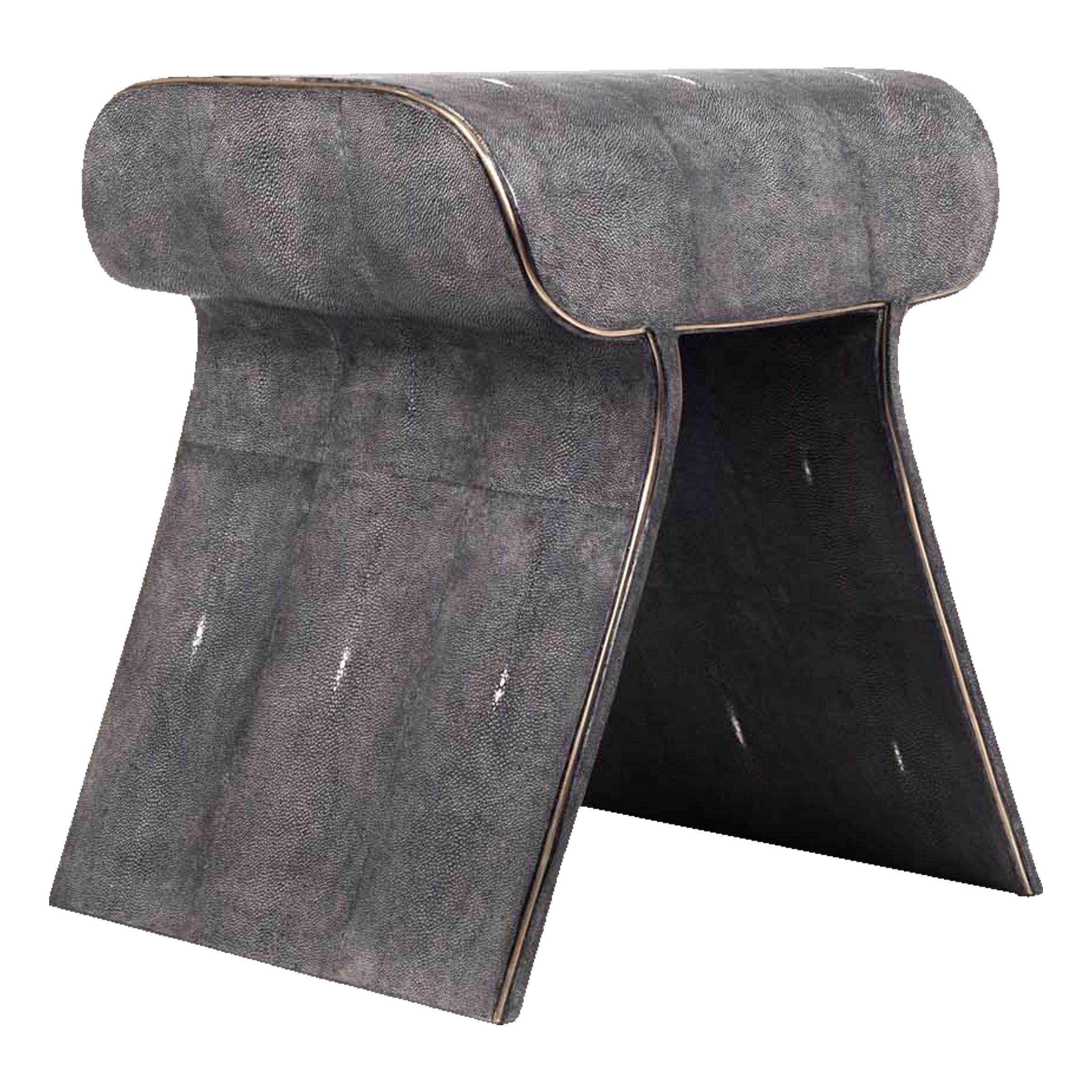 Dandy Stool in Black Shagreen with Bronze-Patina Brass Details by Kifu Paris