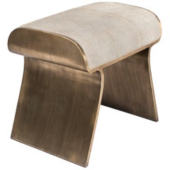 Dandy Stool in Cream Shagreen and Bronze-Patina Brass by Kifu, Paris