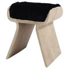 Dandy Stool in Cream Shagreen with Fur Cushion by Kifu Paris