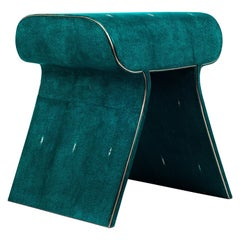 Dandy Stool in Green Shagreen with Bronze-Patina Brass Details by Kifu, Paris