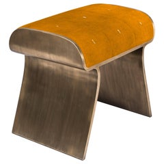 Dandy Stool in Tumeric Orange Shagreen and Bronze-Patina Brass by Kifu Paris