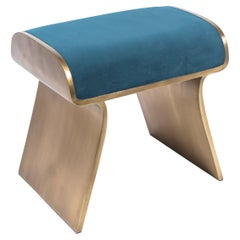 Dandy Stool Upholstered in Blue Velvet with Bronze-Patina Brass by Kifu Paris