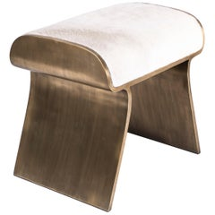 Dandy Stool Upholstered with Bronze-Patina Brass Details by Kifu Paris