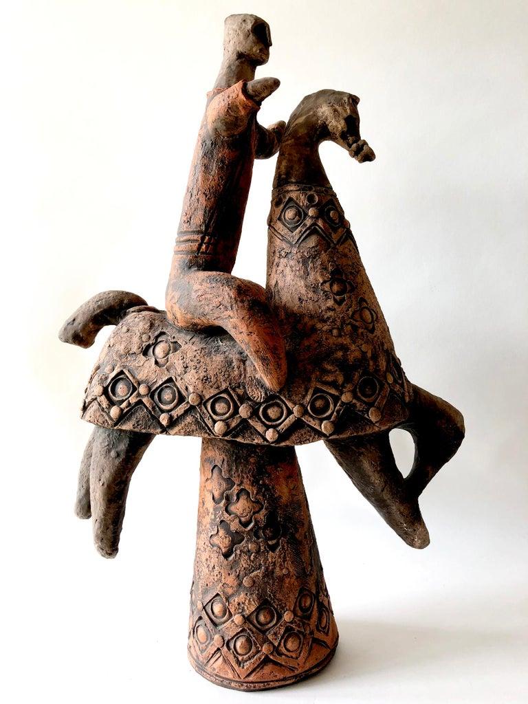 American Dane Henry Burr Terracotta Ceramic Horse And Rider Sculpture For Sale