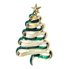 Danecraft Gold Christmas Conifer Tree Pin Broch, Green Enamel