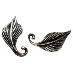 Danecraft Sterling Silver Leaf Screw Back Earrings
