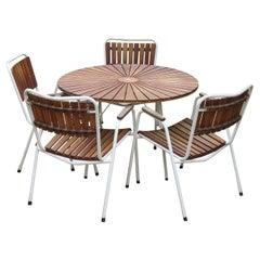 Daneline Garden Teak Table and Set of 4 Stackable Chairs
