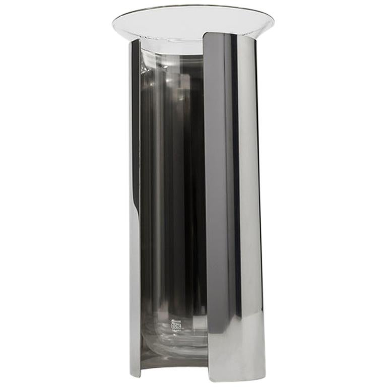 Danese Milano Camicia B Vase in Stainless Steel by Enzo Mari