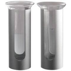 Danese Milano, Camicia Stainless Steel and Glass Vase