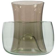 Danese Milano Murano E Vase Set in Smoke and Light Green Glass by Enzo Mari