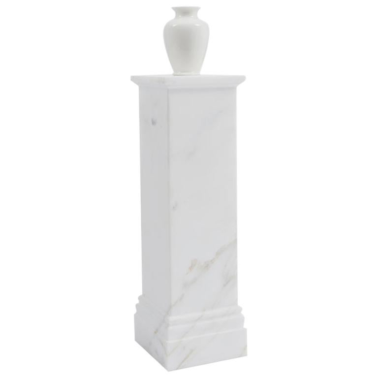 Danese Milano Pedestal Vase A in Gold Viened Marble by Ron Gilad For Sale