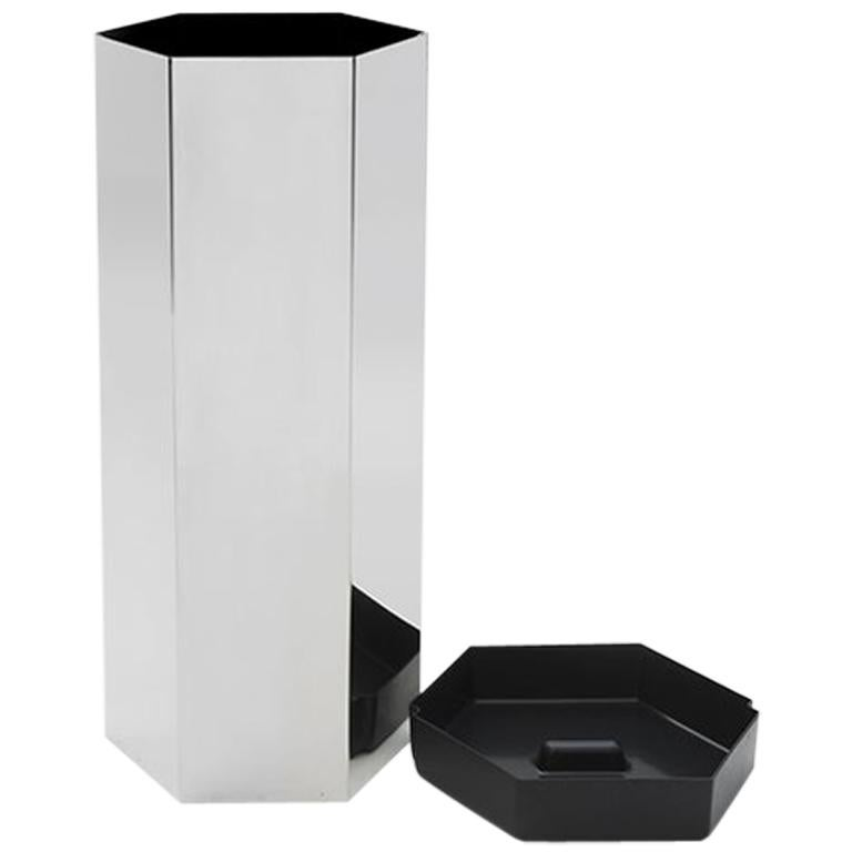 Danese Milano Sicilia 56 Umbrella Stand in Stainless Steel by Bruno Munari For Sale