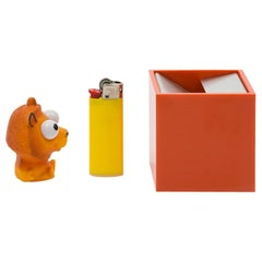 Danese Milano Small Cubo Ashtray in Orange Aluminum by Bruno Munari