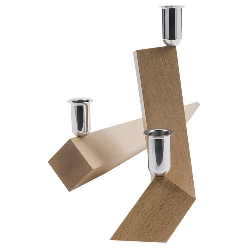 Danese Milano Venezia Legno Candle Holder in Wood by Ron Gilad