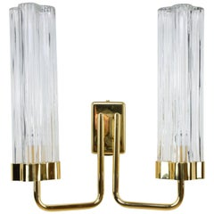 Danghi-W2 Brass and Glass Wall Light, Flow 2 Collection
