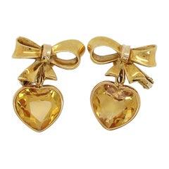 Dangle Citrine Yellow Gold Heart Earrings