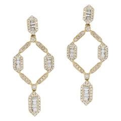 14 Karat Yellow Gold Baguette Diamond Open Frame Drop Earrings