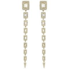 18 Karat Yellow Gold Baguette Diamond Drop Earrings