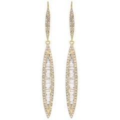 Dangle Diamond Earring in 18 Karat Yellow Gold