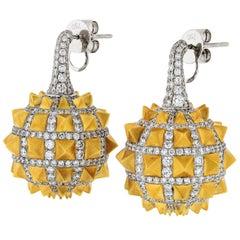 Dangle Drop Diamond Earrings with Spikes on Balls in 18 Karat Gold