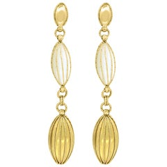 Dangle & Drop Mother of Pearl and Gold Earrings