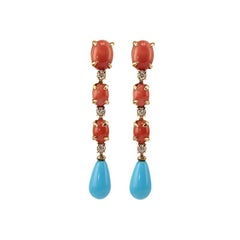 Dangle Earrings in 18 Karat Gold, Red Coral, Turquoise and Diamonds