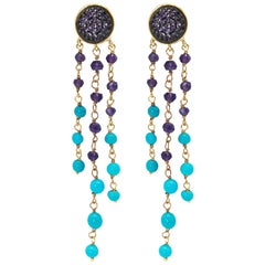 Dangle Earrings in 925 Silver, Amethyst Paves and Turquoise and Amethyst Beads