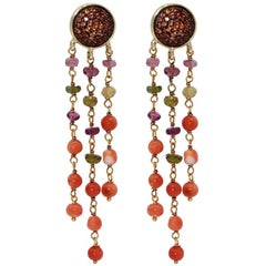 Dangle Earrings in 925 Silver, Orange Sapphires Paves and Multi-Color Tourmaline