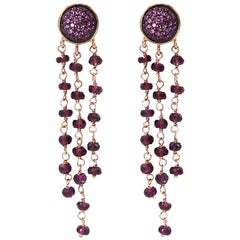 Dangle Earrings in 925 Silver, Rubies Paves and Red Garnet Beads