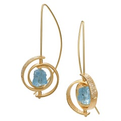 Dangle Earrings in Gold with Rough Aquamarines and Pave Diamonds