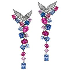 JAG New York Pink and Blue Sapphire, Ruby, Diamond Platinum Earrings