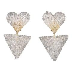 Dangle Heart Lucite Clip Earrings