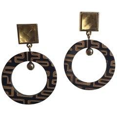 Dangle Hoop Earrings Art Deco Citrine Horn