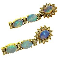 Gemjunky Dangle Opal and Diamond 18 Karat Yellow Gold Earrings