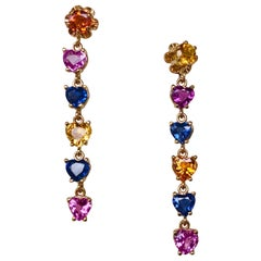 Dangle Sapphire Multi-Color Heart Cut Drop Earrings Gold