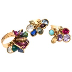 Dangler Cluster Jewel Colored Glass Stone Earrings and Ring Set Vintage