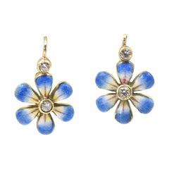Dangling Blue Daisy Enamel Flower Diamond Gold Earrings by Sandra J Sensations