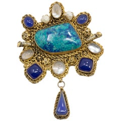 Dangling Brass Statement Pendant with Quartz, Pearl, in Blue, Teal, Clear