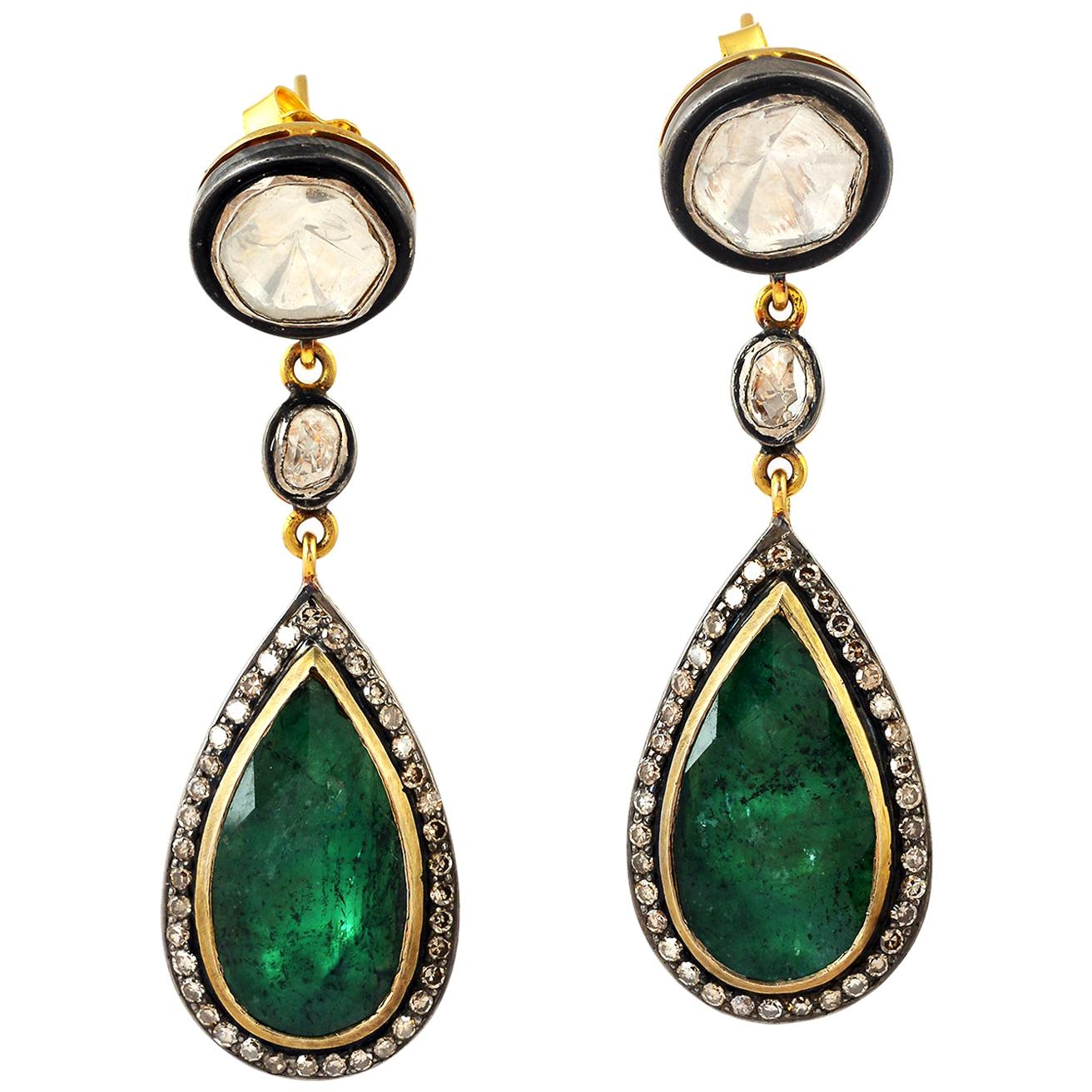 Dangling Diamond and Emerald Earring in Silver and Gold