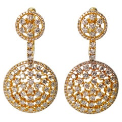 Dangling Diamond Covered Medallion Disk Yellow Gold Earrings