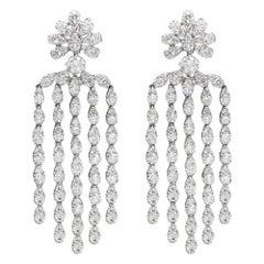 Dangling Diamond Earrings 18 Karat White Gold Chandelier Earrings