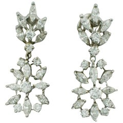 Dangling Diamond Earrings 2.90 Carat, circa 1950s